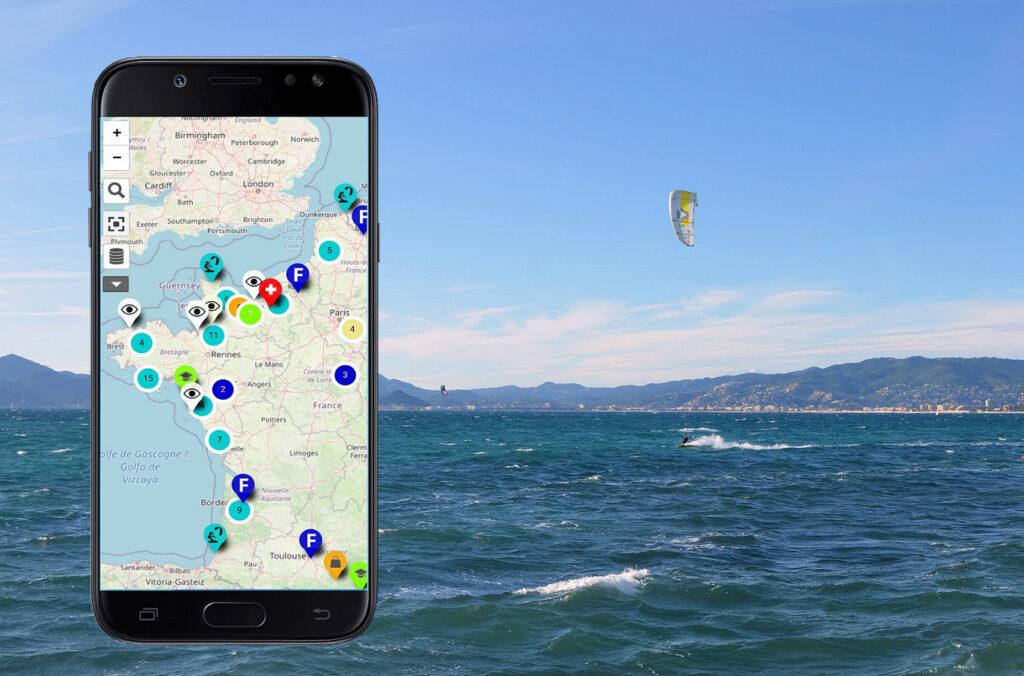 carte des spots de kite en france et monde zoomkite