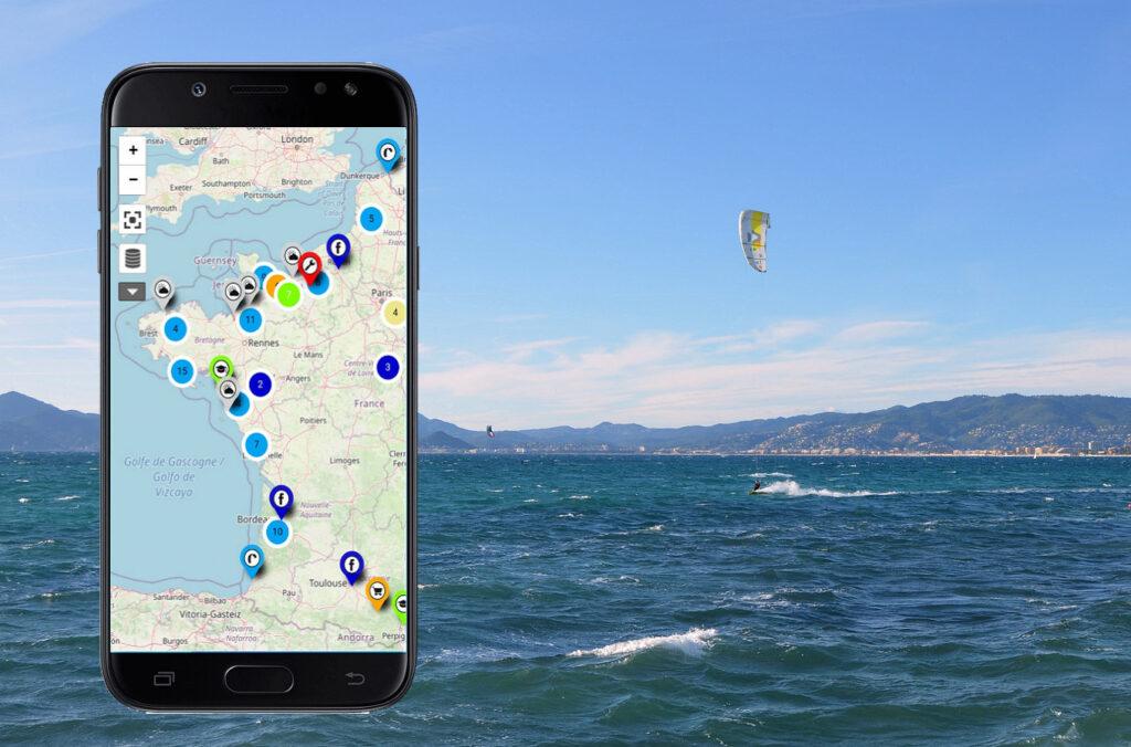 carte interactive des spots de kitesurf zoomkite