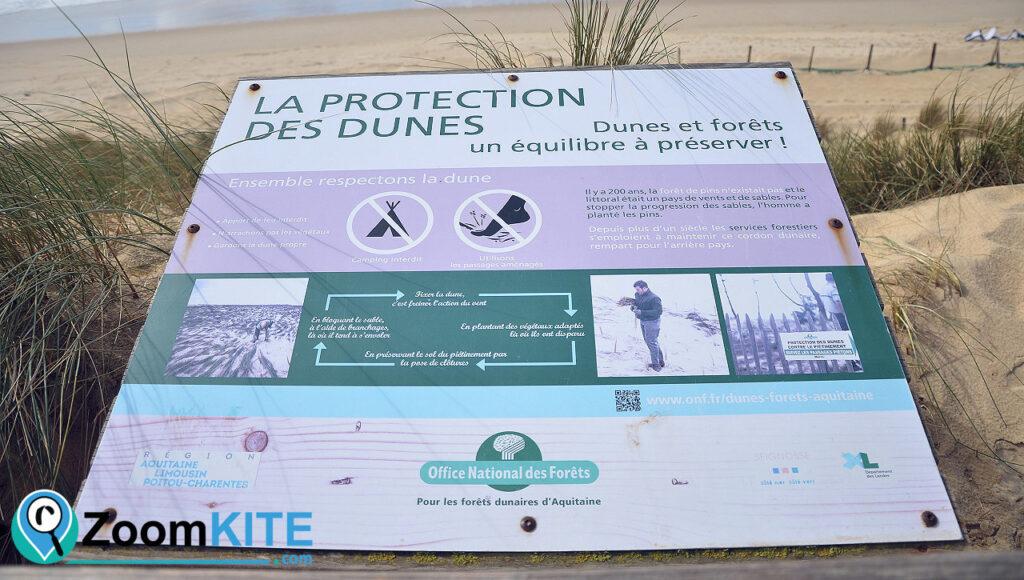 spot de kitesurf les estagnots à seignosse protection des dunes zoomkite