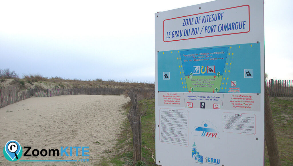 spot de kitesurf plage sud port camargue reglementation zoomkite